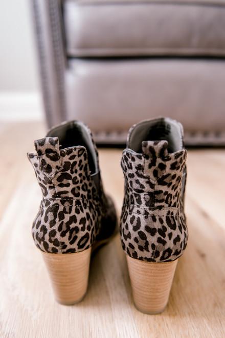Faux Suede Leopard Wedge Booties - Grey - FINAL SALE