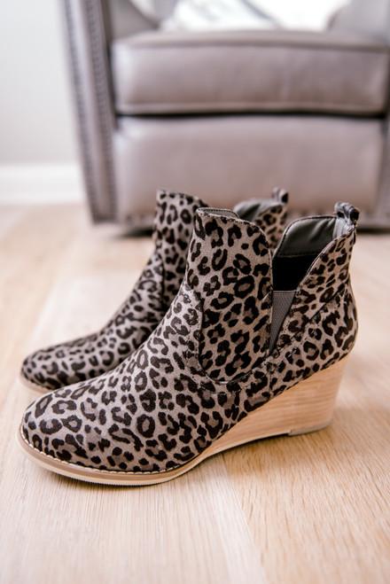 Faux Suede Leopard Wedge Booties - Grey