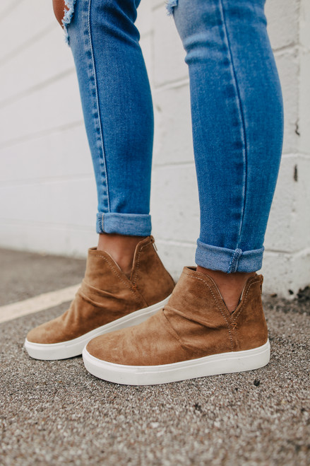 Josephine Ruched Camel Sneakers