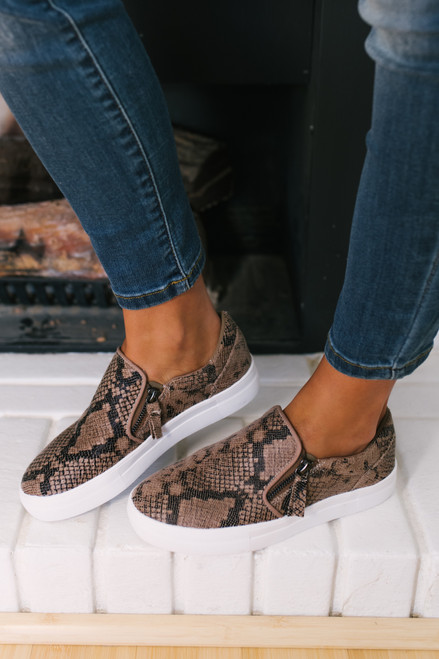 Snakeskin Slip On Sneakers - Taupe
