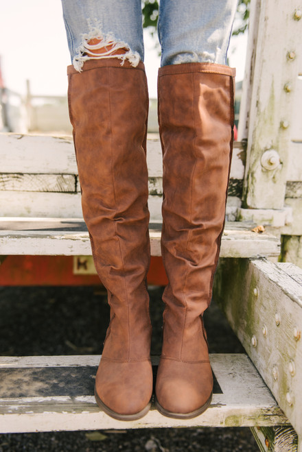 Distressed Knee High Boots - Tan