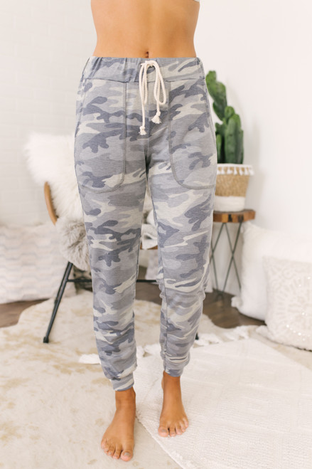 Drawstring Pocket Camo Joggers - Grey Multi