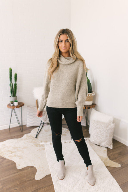 Snow Valley Cowl Neck Pocket Sweater - Taupe