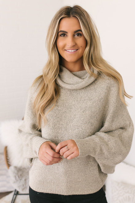 Snow Valley Cowl Neck Pocket Sweater - Taupe  - FINAL SALE