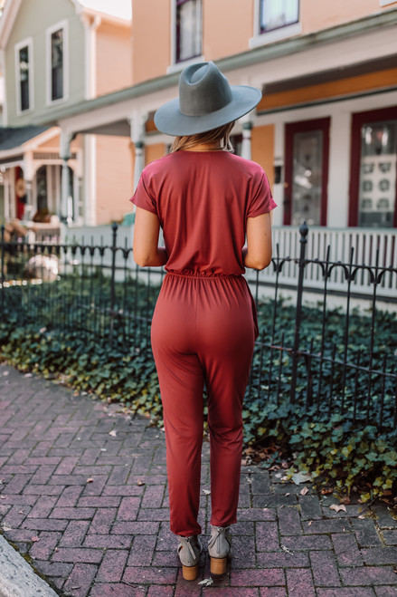 Short Sleeve Surplice Jumpsuit - Brick