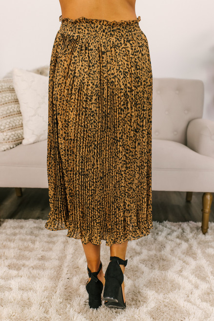 Pleated Leopard Midi Skirt - Brown