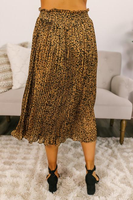 Pleated Leopard Midi Skirt - Brown