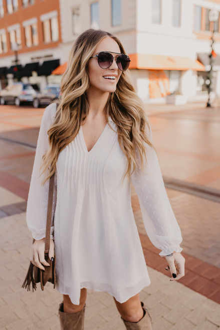 V-Neck Pleated Dotted Dress - Ivory