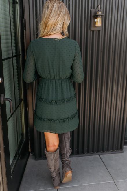 Surplice Dotted Ruffle Dress - Hunter Green