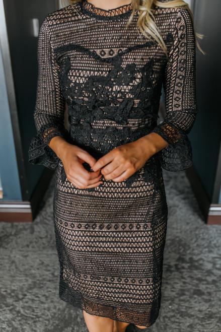 Peplum Sleeve Lace Midi Dress - Black -  FINAL SALE