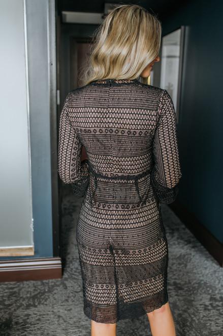 Peplum Sleeve Lace Midi Dress - Black
