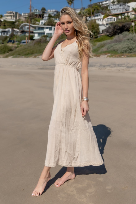 Surplice Crochet Detail Natural Maxi