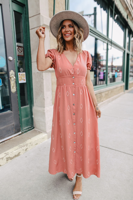 Button Down Diamond Embroidered Mauve Maxi