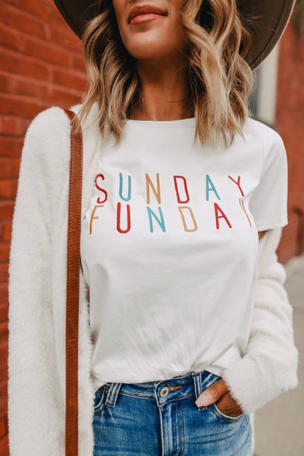Sunday Funday Embroidered Ivory Tee
