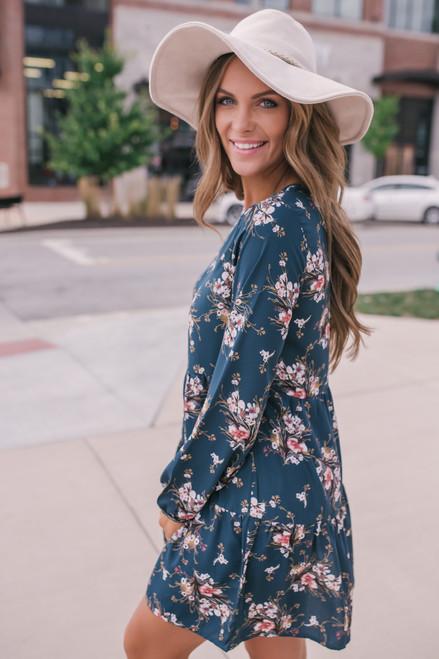 Everly V-Neck Floral Babydoll Dress - Hunter Green - FINAL SALE