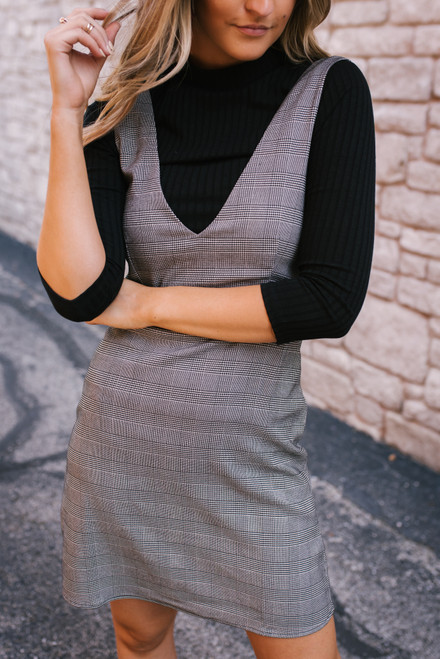 Everly Plaid Overall Dress - Black - FINAL SALE