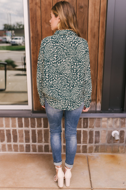 Everly Button Down Leopard Blouse - Green/Grey