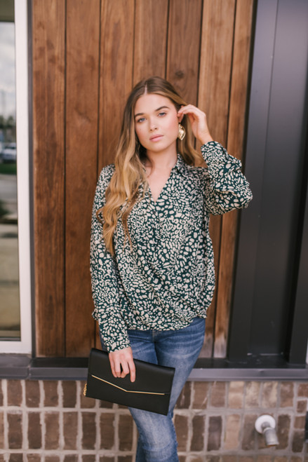Everly Button Down Leopard Blouse - Green/Grey - FINAL SALE