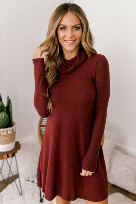 Everly Cowl Neck Brushed Dress - Burgundy