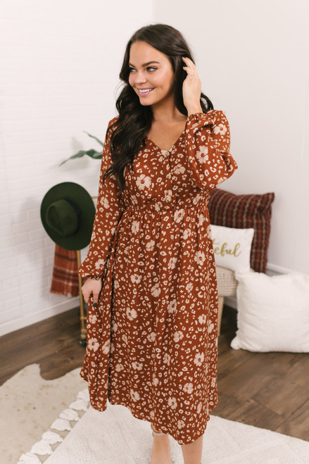 Everly Floral Leopard Midi Dress - Rust/Ivory
