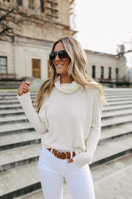Everly Cowl Neck Waffle Pullover - Ivory