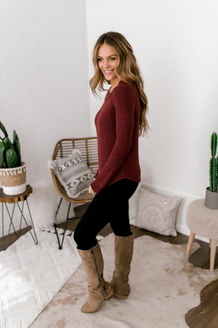 Everly Off the Shoulder Brushed Pullover - Burgundy