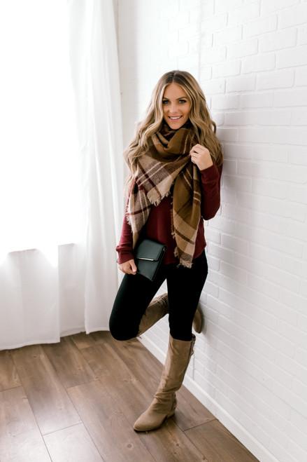 Everly Off the Shoulder Brushed Pullover - Burgundy - FINAL SALE