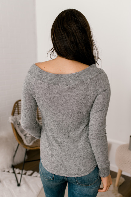 Everly Off the Shoulder Brushed Pullover - Grey
