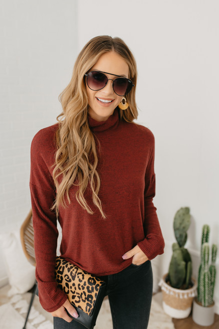 Everly Mock Neck Brushed Top - Burgundy - FINAL SALE
