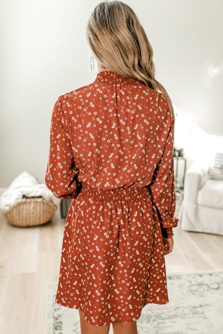 Everly Mock Neck Smocked Floral Dress - Rust Multi