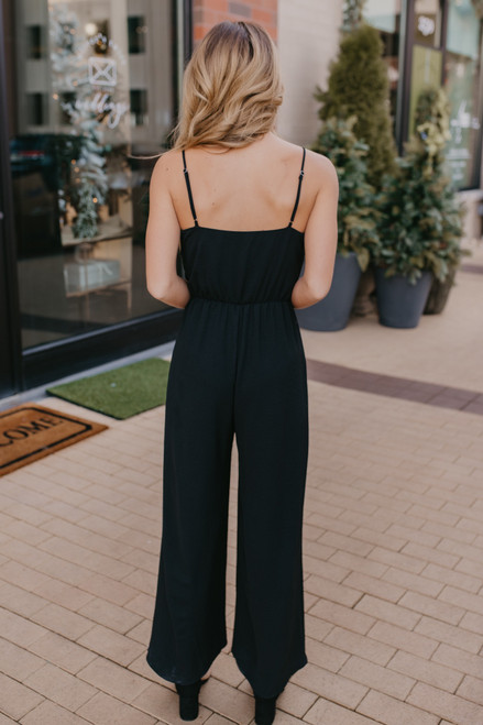 Everly Tie Front Jumpsuit - Black