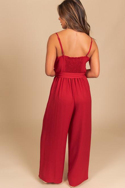 Everly V-Neck Tie Waist Jumpsuit - Ruby