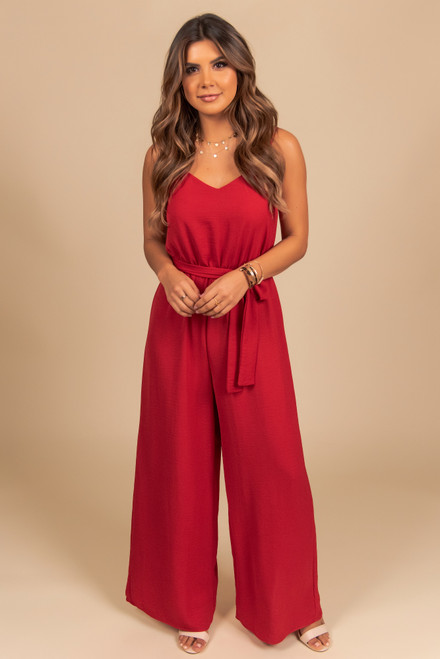 Everly V-Neck Tie Waist Jumpsuit - Ruby