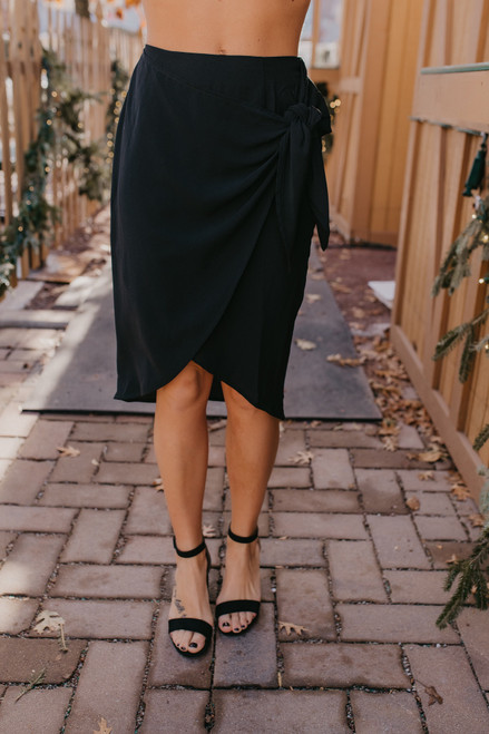 Everly Wrap Midi Skirt - Black