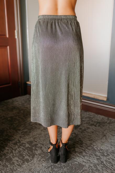 Everly Pleated Metallic Midi Skirt - Black/Silver