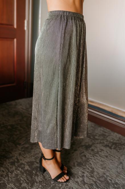 Everly Pleated Metallic Midi Skirt - Black/Silver - FINAL SALE