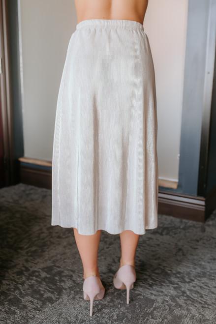 Everly Pleated Metallic Midi Skirt - Ivory/Silver