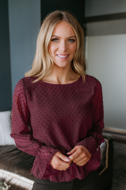 Smocked Waist Dotted Blouse - Burgundy