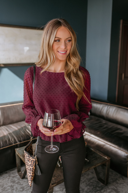 Smocked Waist Dotted Blouse - Burgundy - FINAL SALE
