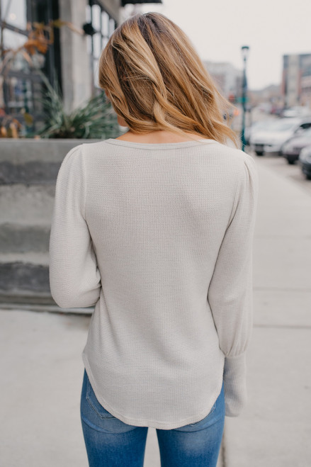 Everly Two Tone Brushed Top - Oatmeal