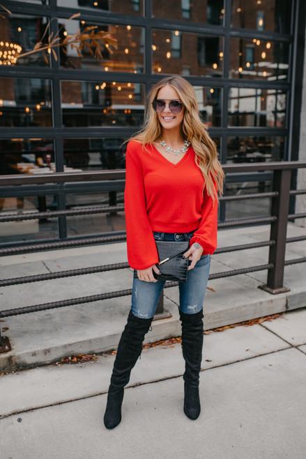 Everly V-Neck Brushed Pullover - Red
