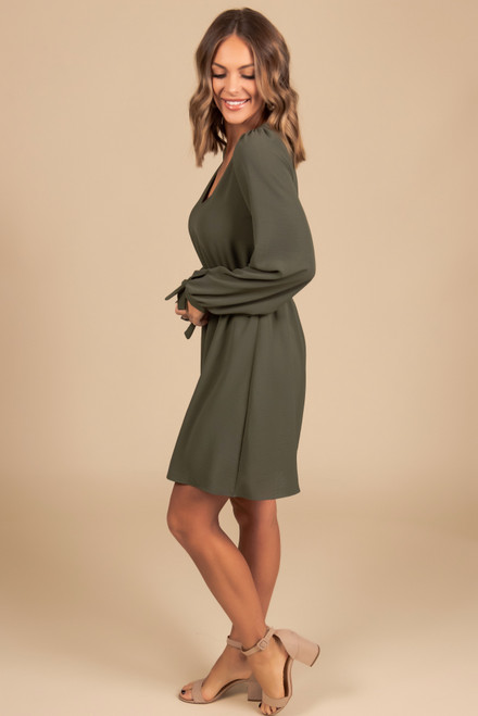 Everly V-Neck Tie Sleeve Dress - Olive