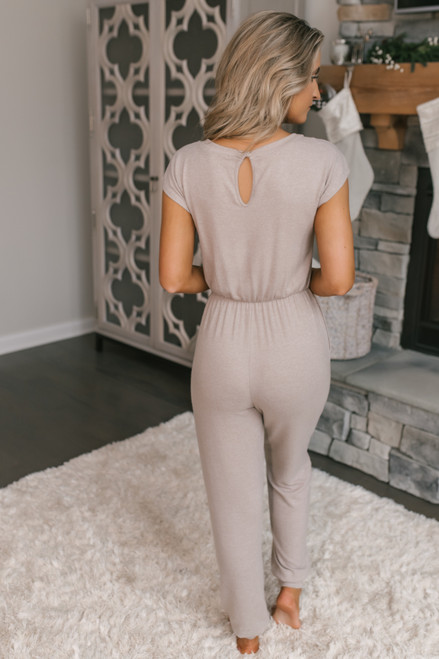 Everly Soft Brushed Jumpsuit - Taupe
