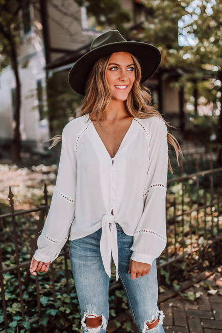 Button Down Ladder Knot Blouse - Off White