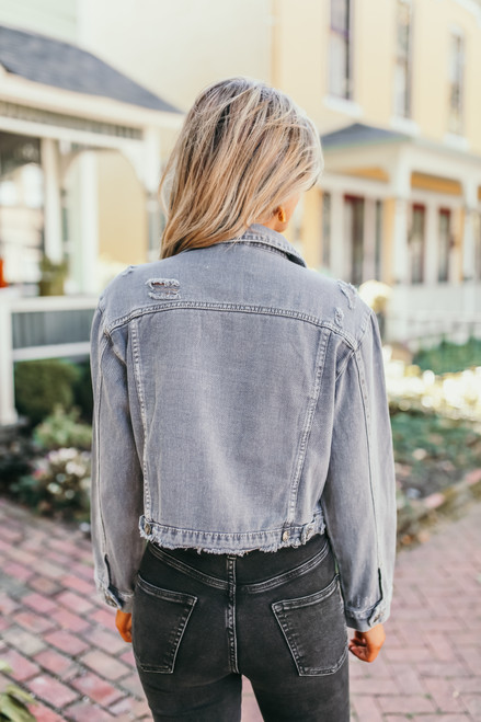 Distressed Denim Jacket - Grey