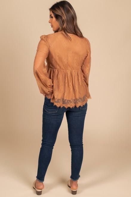 V-Neck Tie Front Lace Blouse - Caramel