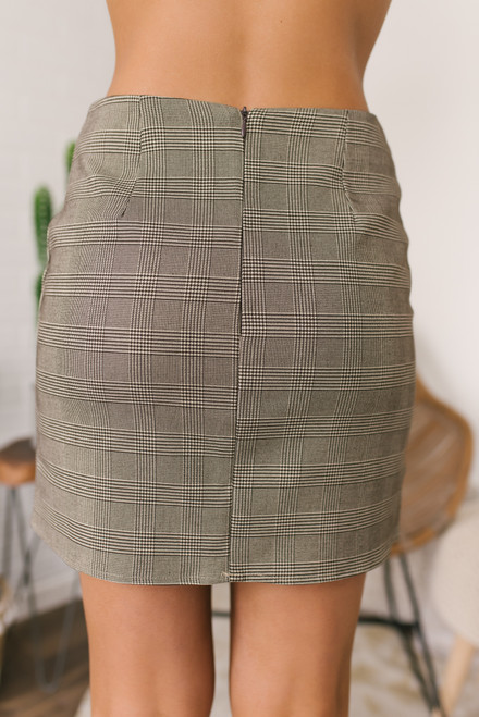 Everly Button Detail Plaid Skirt - Taupe/Brown