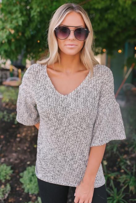 Everly Two Tone Peplum Sleeve Sweater - Black/Ivory - FINAL SALE