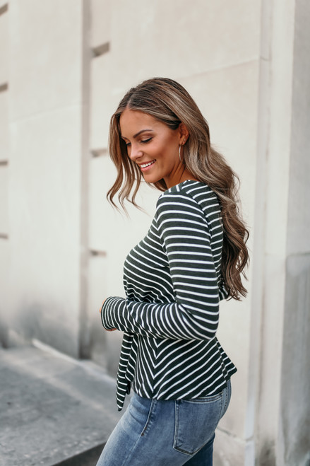 Everly Tie Front Striped Top - Green/White
