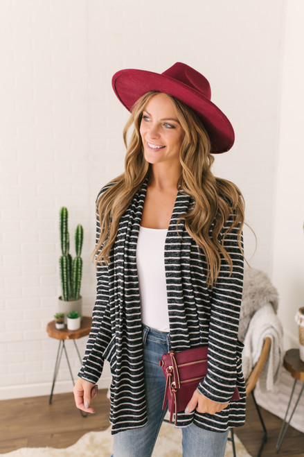 Everly Brushed Striped Cardigan - Black/White - FINAL SALE